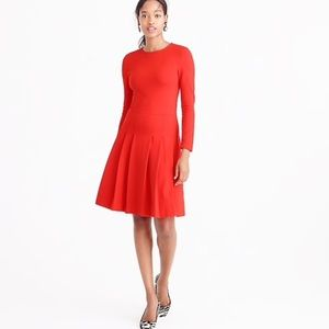 j. crew Red Pleated Ponte Fit Flare Long Slv Dress